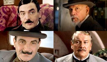 Vier Poirots im Uhrzeigersinn: John Malkovich, Peter Ustinov, David Suchet, Albert Finney