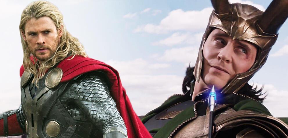 Chris Hemsworth und Tom Hiddleston in Marvel's The Avengers