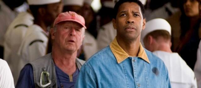 Tony Scott und Denzel Washington beim Dreh von Déjà vu