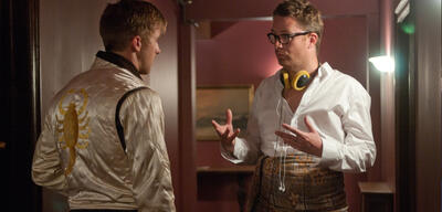 Ryan Gosling undNicolas Winding Refn am Set von Drive