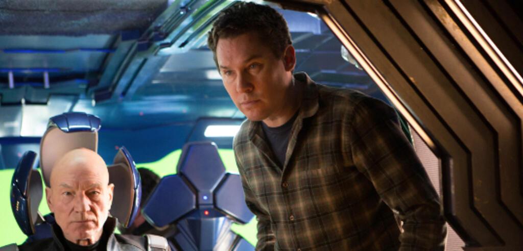 Bryan Singer und Patrick Stewart am Set von X-Men: Zukunft ist Vergangenheit