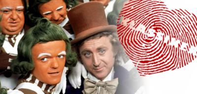 Gene Wilder als Willy Wonka inmitten der Oompa-Loompas in Charlie und die Schokoladenfabrik