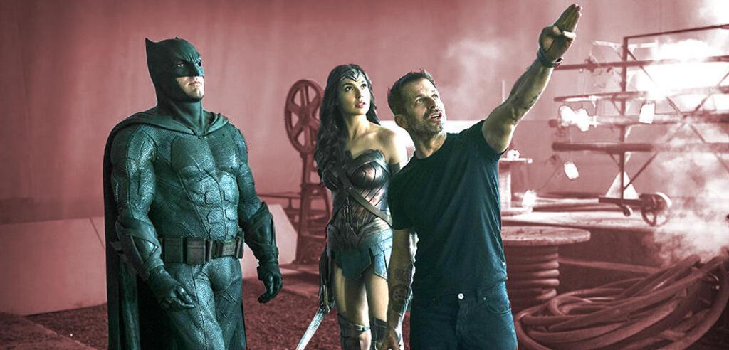 Ben Affleck, Gal Gadot und Zack Snyder am Set von Justice League