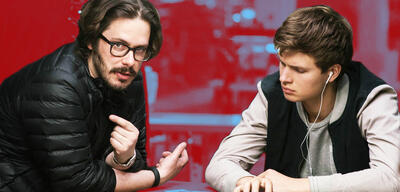Edgar Wright am Set von Baby Driver
