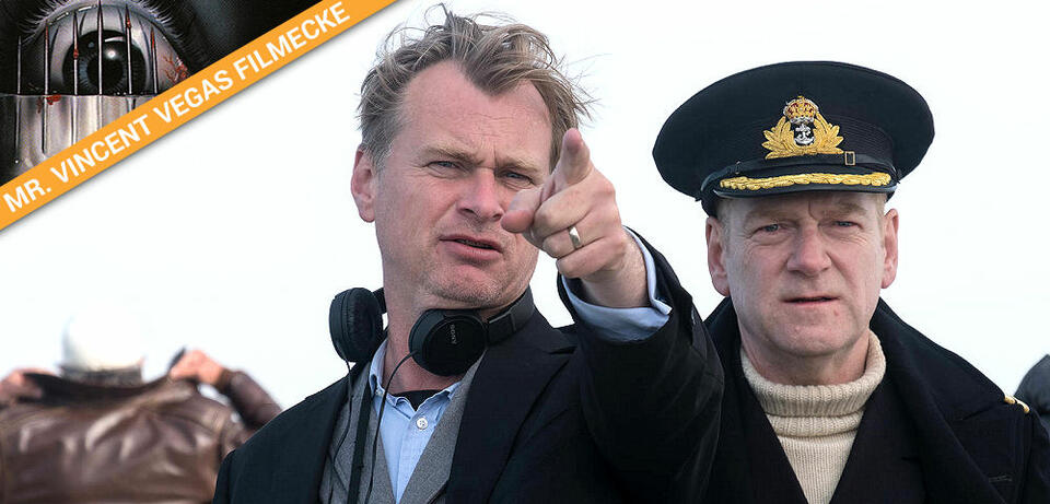 Christopher Nolan am Set von Dunkirk
