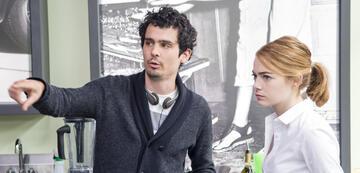 Damien Chazelle und Emm Stone am Set von La La Land