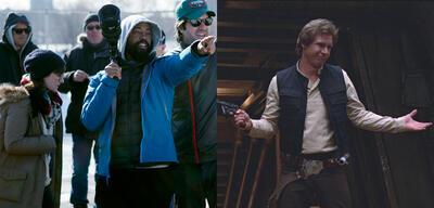 Bradford Young am Set von A Most Violent Year & Harrison Ford inDie Rückkehr der Jedi-Ritter
