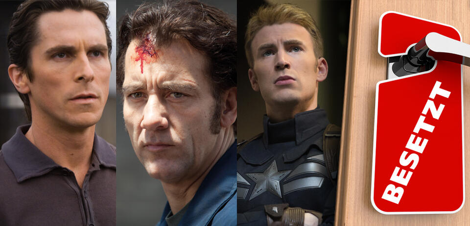 Christian Bale in The Dark Knight / Clive Owen in Blood Ties / Chris Evans inCaptain America: The Return of the First Avenger