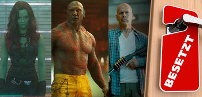 Zoe Saldana und Dave Bautista in Guardians of the Galaxy/Bruce Willis in Stirb langsam - Ein guter Tag zum Sterben