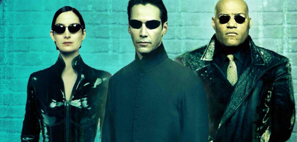 Matrix mit Carrie-Anne Moss, Keanu Reeves und Laurence Fishburne