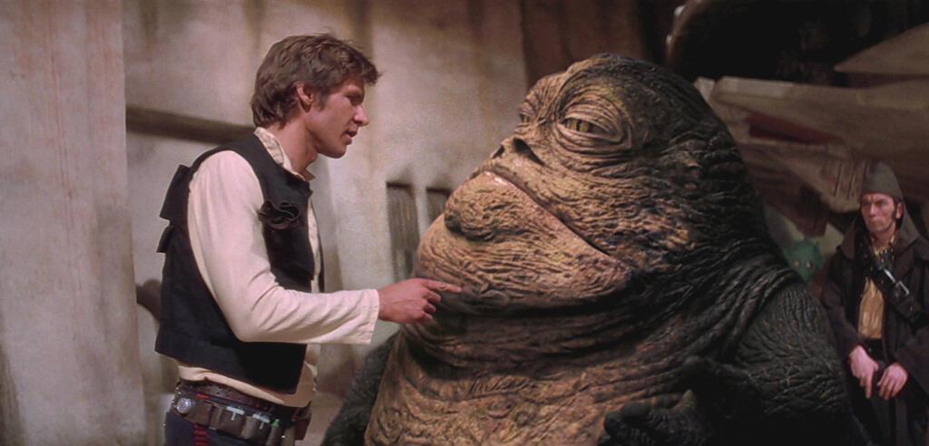 (Alter) Han Solo und Jabba im nachbearbeiteten Krieg der Sterne