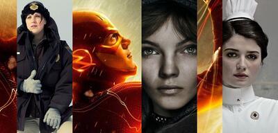 Allison Tollman, Camren Bicondova und Eve Hewson vor Grant Gustin als The Flash