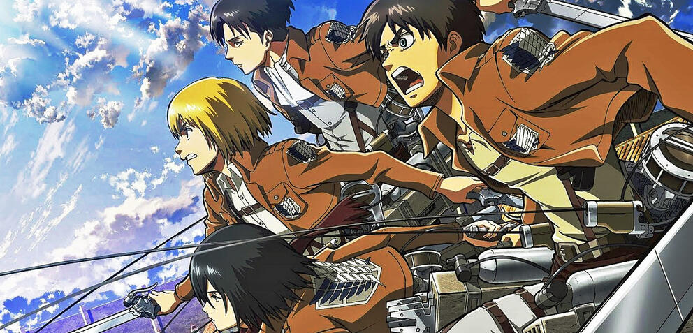 Eren und seine Freunde in Attack on Titan