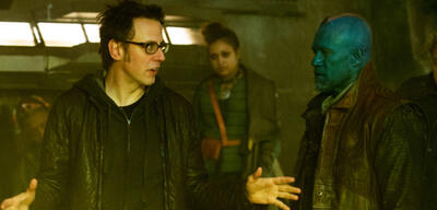 James Gunn am Set von Guardians of the Galaxy
