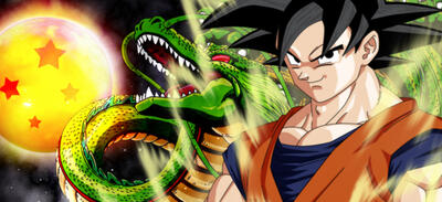 Sayajin Son Goku und Shenlong, der legendäre Drache | Dragonball Z