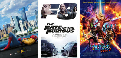 Spider-Man: Homecoming/Fast & Furious 8/Guardians of the Galaxy Vol.2