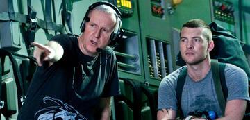 James Cameron und Sam Worthington am Set von Avatar - Aufbruch nach Pandora (2009)