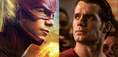 Bald vereint? Grant Gustin als TV-Flash und Henry Cavill als Kino-Superman