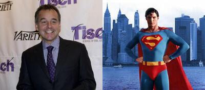 Chris Columbus (l), Christopher Reeve als Superman (r)