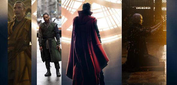 Mads Mikkelsen, Chiwetel Ejiofor, Benedict Cumberbatch und Tilda Swinton in Doctor Strange