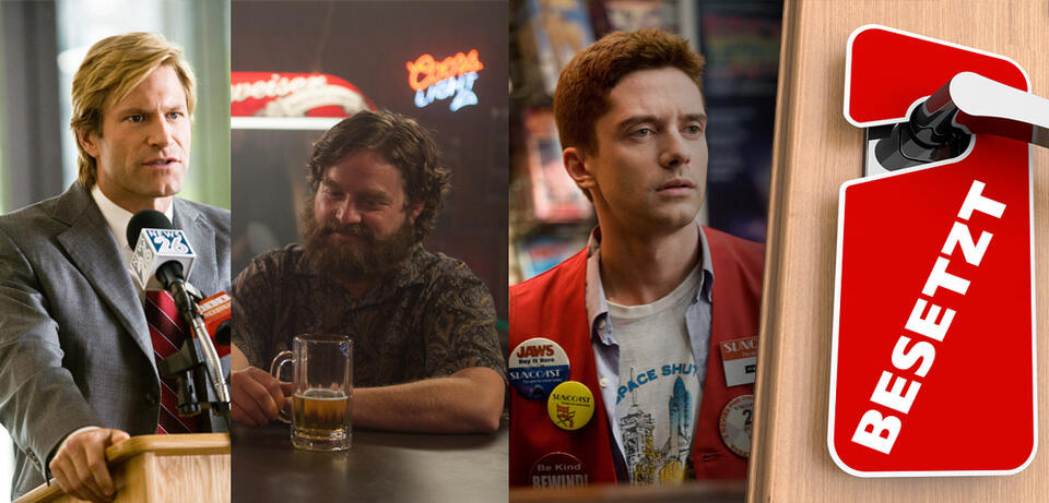 Aaron Eckhart in The Dark Knight/Zach Galifianakis in Are You Here/Topher Grace in Take Me Home Tonight