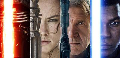 Charakterposter zu Kylo Ren, Rey, Han Solo und Finn in Star Wars: Episode VII - Das Erwachen der Macht
