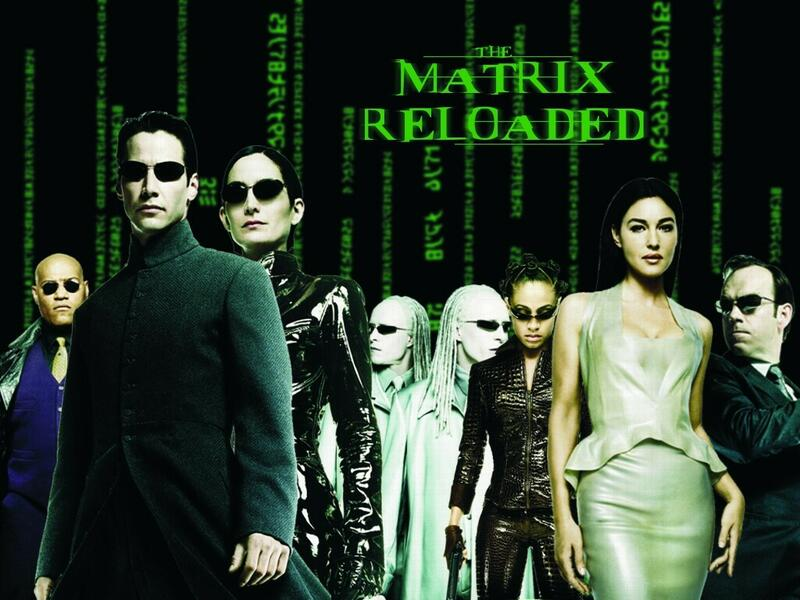 Matrix Reloaded mit Keanu Reeves, Laurence Fishburne und Carrie-Anne Moss