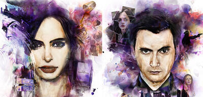 Krysten Ritter und David Tennant in Marvel's Jessica Jones