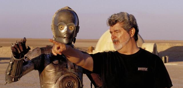 George Lucas und ein Wookie-Roboter
