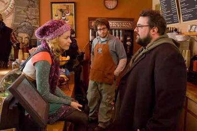 v.l.n.r. Elizabeth Banks, Seth Rogen und Regisseur Kevin Smith