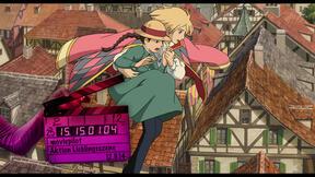 Haruo fliegt mit Sophie über die Dächer der Stadt.
