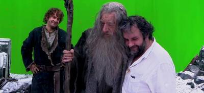 Martin Freeman, Ian McKellen und Peter Jackson am Set von Der Hobbit