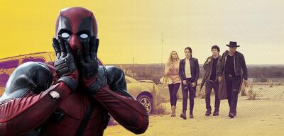 Ryan Reynolds als Deadpool und Emma Stone, Zoey Deutch, Jesse Eisenberg und Woody Harrelson in Zombieland 2