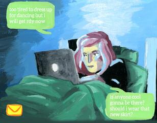 Noch wirkt alles ganz normal: Eine junge Frau bereitet sich auf den Abend vor.
