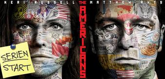 Keri Russell und Matthew Rhys auf dem Poster von The Americans