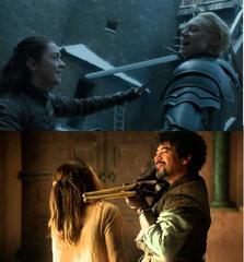 Arya mit Brienne und Syrio