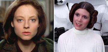 Jodie Foster in Das Schweigen der Lämmer/Carrie Fisher als Prinzessin Leia