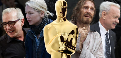 Oscarkandidaten 2017?: Martin Scorsese / Michelle Williams / Oscar-Statue / Liam Neeson / Tom Hanks
