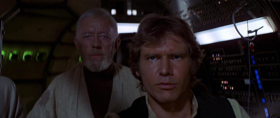Krieg der Sterne mit Harrison Ford und Alec Guinness