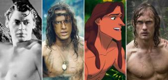 Johnny Weissmuller, Christopher Lambert, Disneys Zeichentrickfigur undAlexander Skarsgård als Tarzan