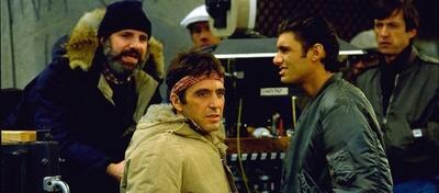 Brian de Palma (links) und Al Pacino am Set von Scarface