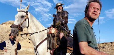 Terry Gilliam an einem Don Quixote-Set