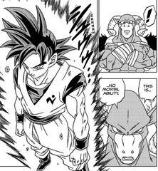 Son-Goku mit seinem Ultra-Instinkt Sign