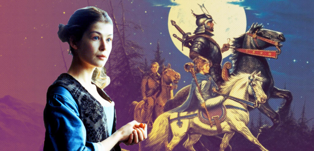 Rosamund Pike vor dem Einbandgemälde des ersten Wheel of Time-Romans, The Eye of the World