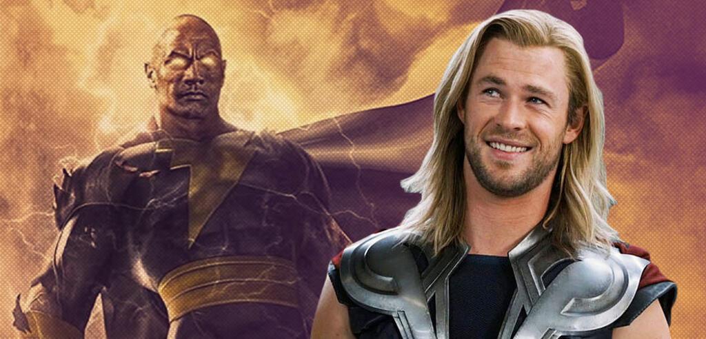 Dwayne Johnson als Black Adam und Chris Hemsworth als Thor