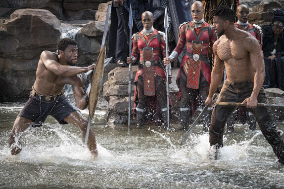 Black Panther mit Michael B. Jordan und Chadwick Boseman