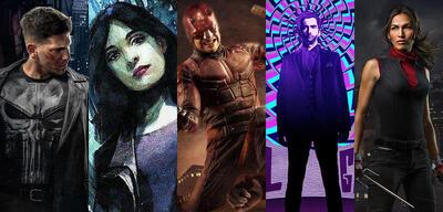 Punisher, Jessica Jones, Daredevil, Kilgrave und Elektra