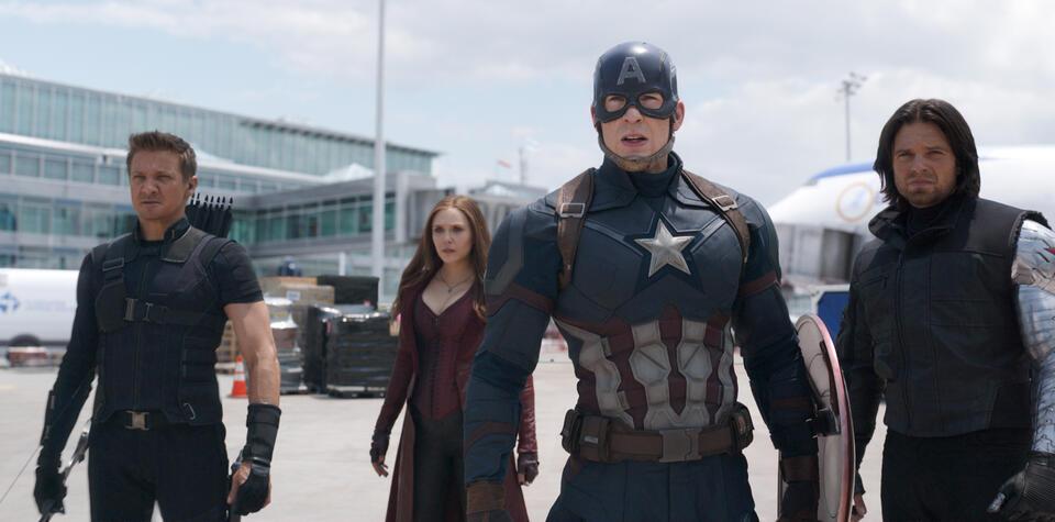 The First Avenger: Civil War mit Chris Evans, Elizabeth Olsen und Sebastian Stan