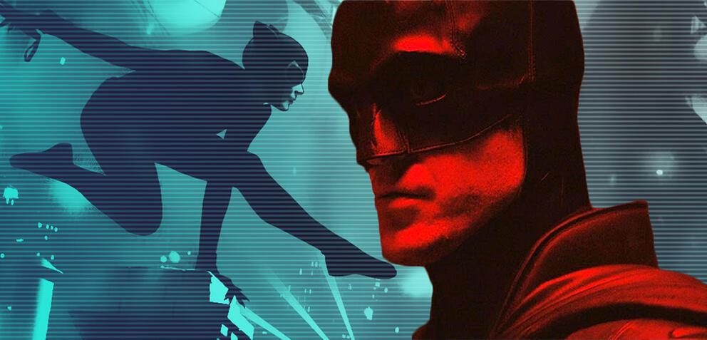 Robert Pattinson im Batman-Anzug und Catwoman in den Comics