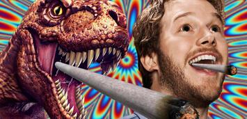 Bild zu:  T-Rex und Chris Pratt